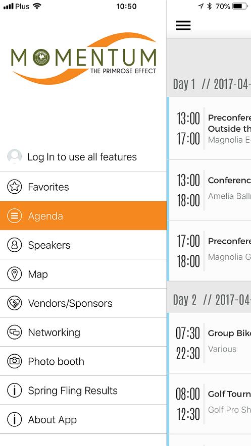 Momentum political congress event app